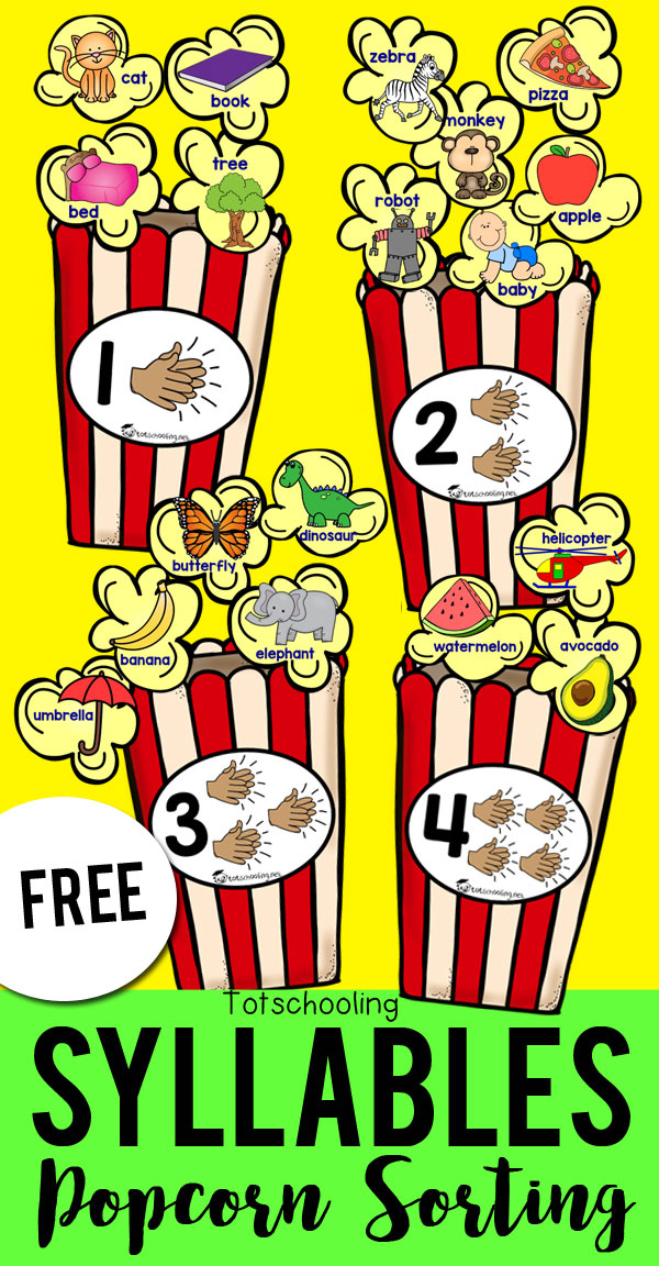 FREE printable sorting activity for preschool and kindergarten kids to sort syllables with a fun popcorn theme! This is a great literacy activity to develop phonemic or phonological awareness. Clap and count the syllables in each popcorn kernel and sort it with the correct popcorn box.