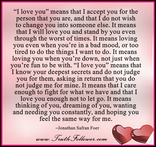 Truth Follower: What I love you means