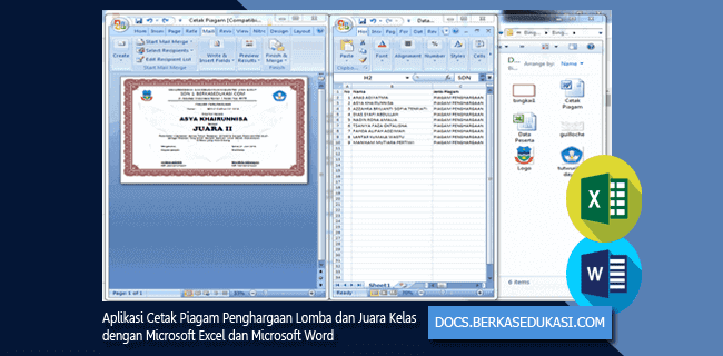 Aplikasi Cetak Piagam Penghargaan Lomba dan Juara Kelas dengan Microsoft Excel dan Microsoft Word