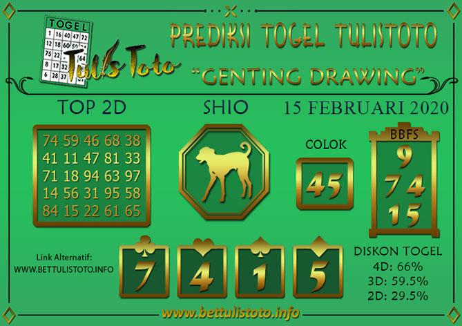 Prediksi Togel GENTING DRAWING TULISTOTO 15 FEBRUARI 2020