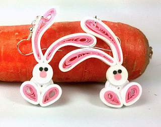 Rabbit quilling earrings animals for kids - quillingpaperdesign