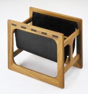 teak and leather magazine rack