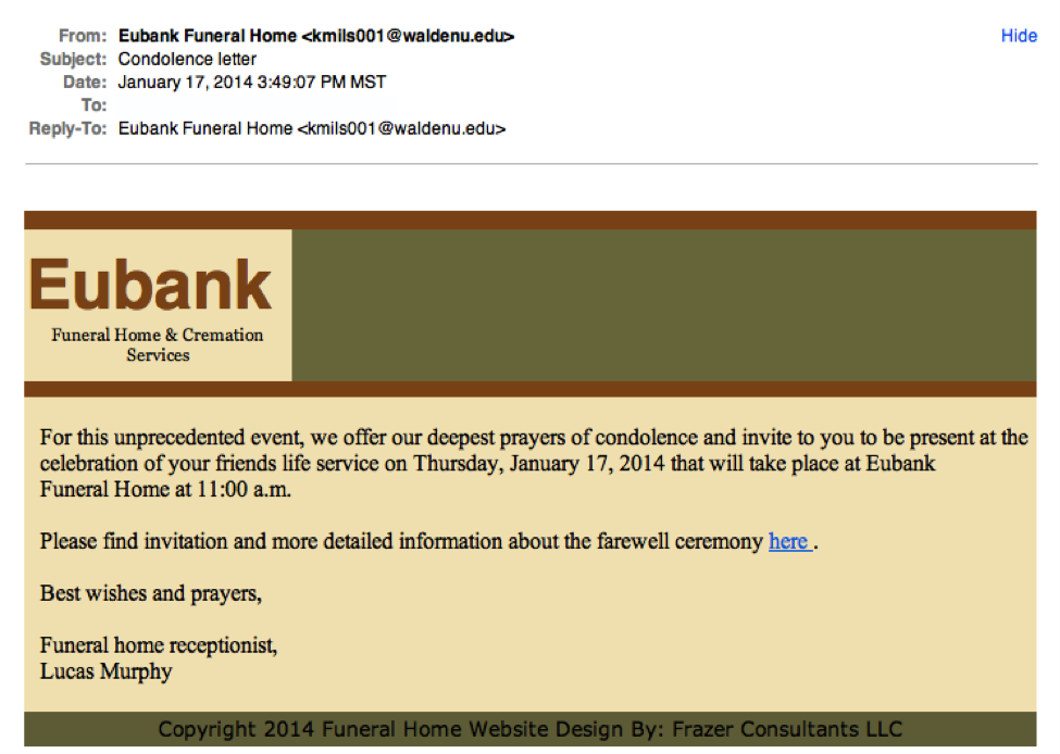 Eubank phishing example