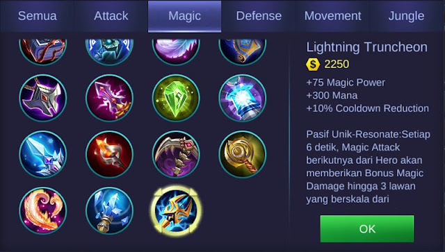 Lightning Truncheon, Item Mage Dengan Tambahan Damage Sangat Besar Di Mobile Legends