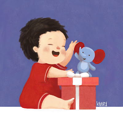 Adriano and the little elephant children illustration