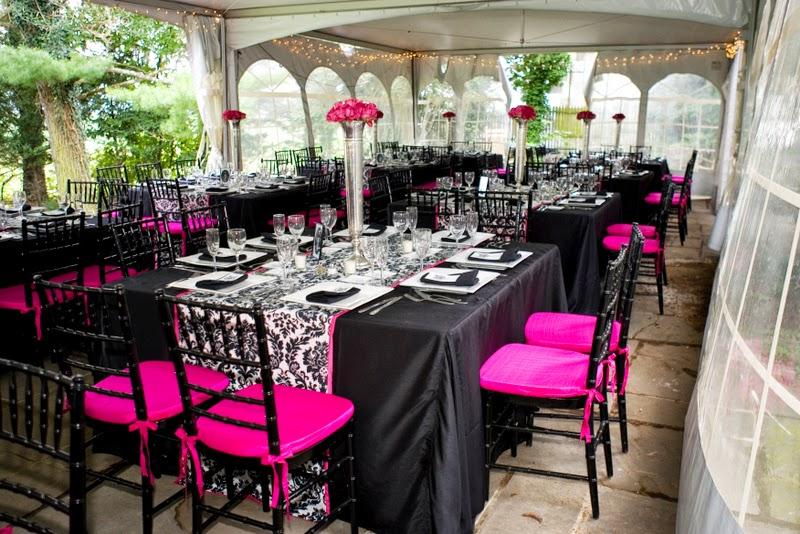 Andrea Winston (awewin82) on Pinterest - pink black and white weddings