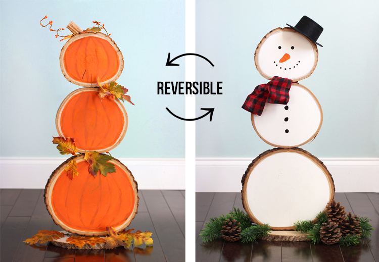 Reversible holiday decor for fall and Christmas
