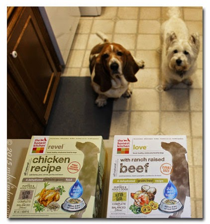 Dehydrated dog food with Basset Hound and Westie looking