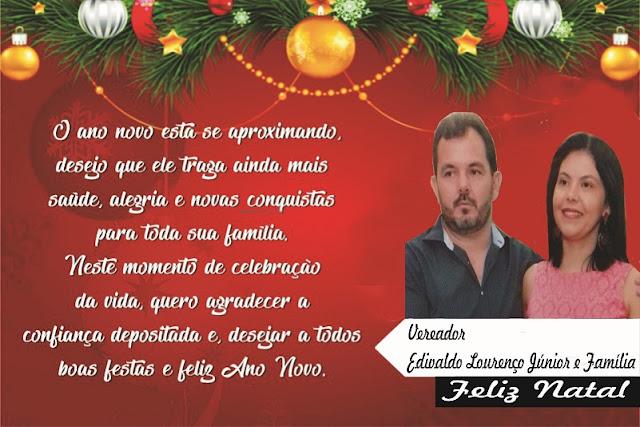 O vereador professor Júnior e sua família deseja um Feliz Natal e um Ano Novo muito próspero a todo