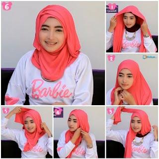 Tutorial hijab segi empat wajah bulat fashionable