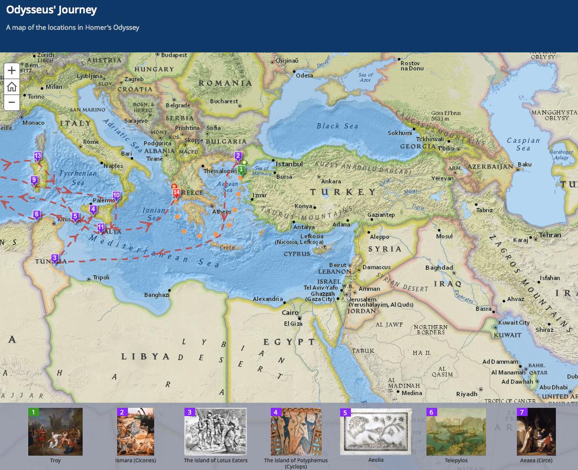 the odyssey map os presentamos cuatro mapas interactivos que marcan el recorrido de dos viajes mticos de la literatura universal la odisea de homero