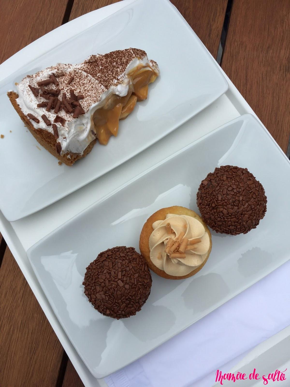 torta banoffe, cupcake chocolate belga e doce de leite Sugar Bakery Curitiba/PR ... blog Mamãe de Salto