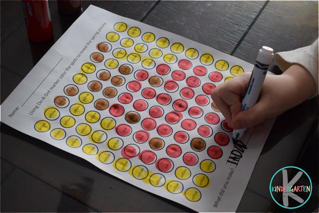 spring bingo marker kindergarten worksheets