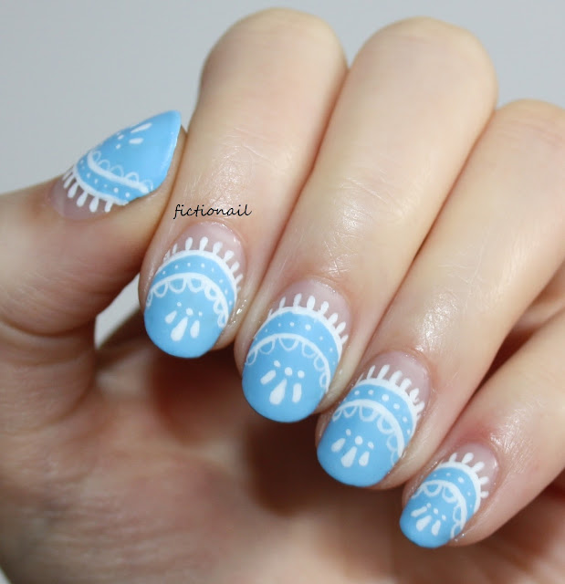 Spring Lace Baby Blue Nail Art