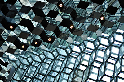 The interior and façade of Harpa Concert Hall were inspired by Iceland's landscapes