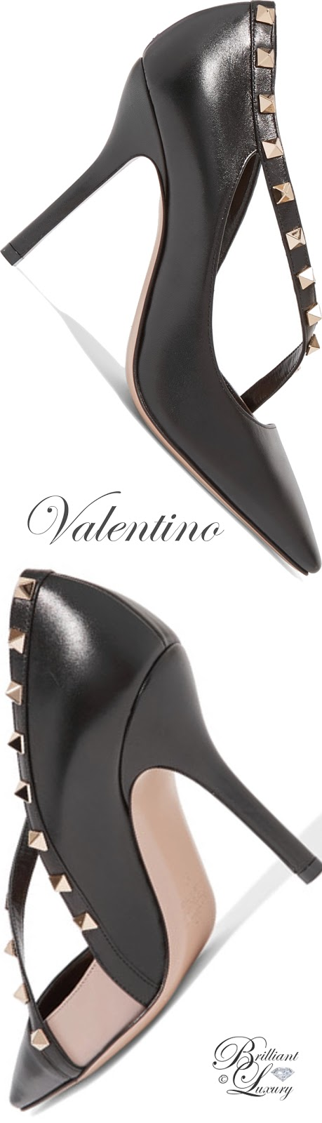 Brilliant Luxury ♦ Valentino Rockstud Two-Tone Leather Pumps
