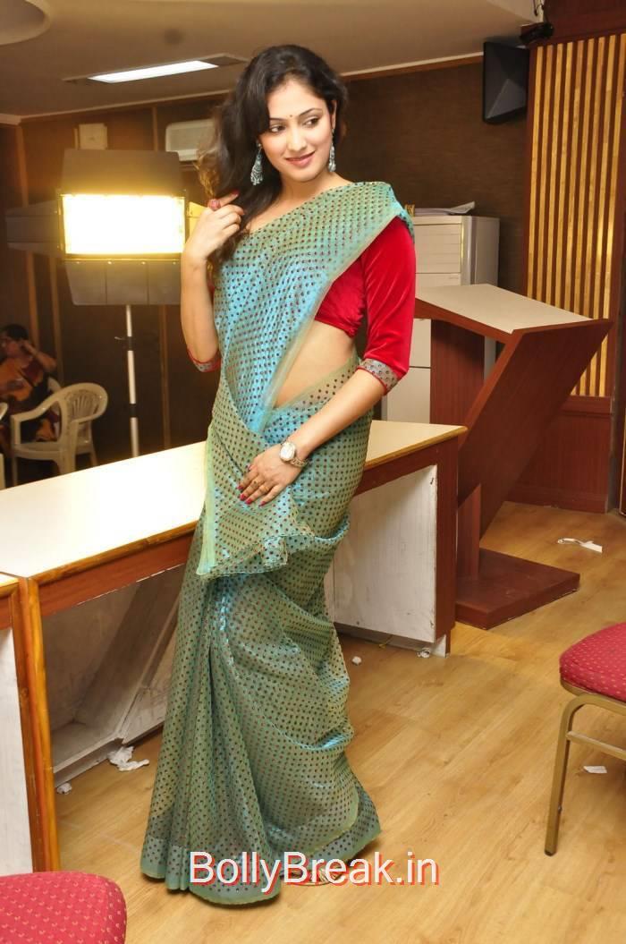Haripriya Pics, Haripriya Hot HD Images in Teal Green Colour Saree