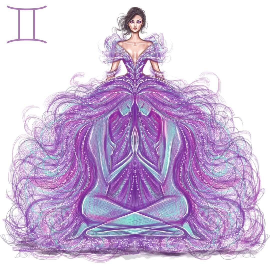 03-Gemini-Shamekh-Bluwi-Zodiac-Haute-Couture-Exquisite-Fashion-Drawings-www-designstack-co