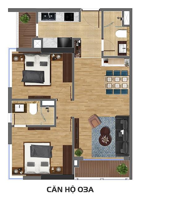 thiết kế căn hộ 2 ngủ chung cư rivera park nghĩa tân