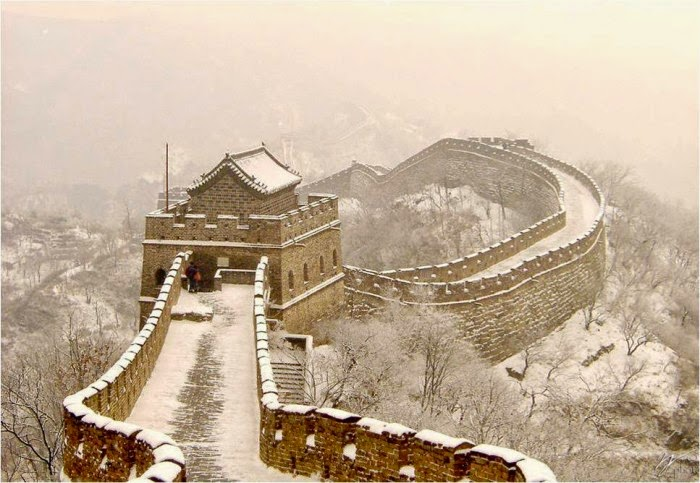 Fotografia muro de China nevado