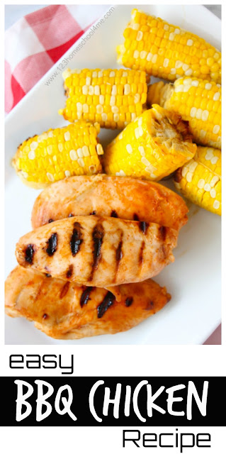 Easy BBQ Chicken Recipe - great, simple recipe for delicious, juicy chicken with just a few items you already have in your kitchen! (grilling, summer recipes)