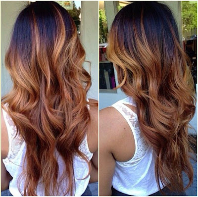 Golden Brown Ombre - Two Tone Hair Color Dark On Top Light On Bottom