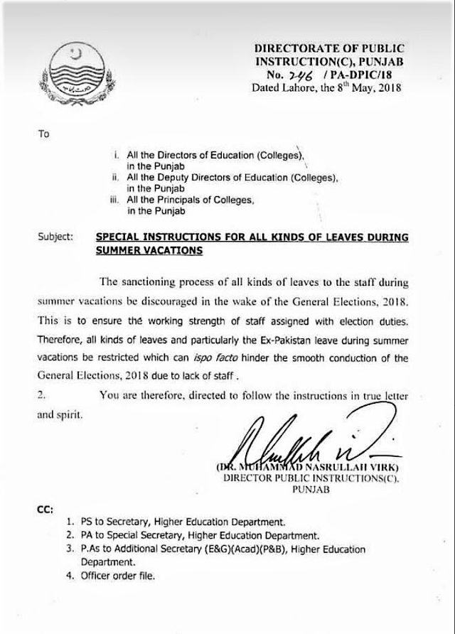 SPECIAL INSTRUCTIONS FOR ALL KINDS OF LEAVES DURING SUMMER VACATIONS