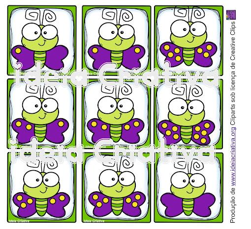 Jogo da Memória para imprimir Borboletas com quantidades