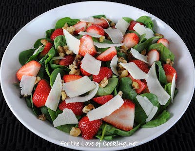 Spinach Salad with Strawberry, Walnut, and Parmesan Shavings