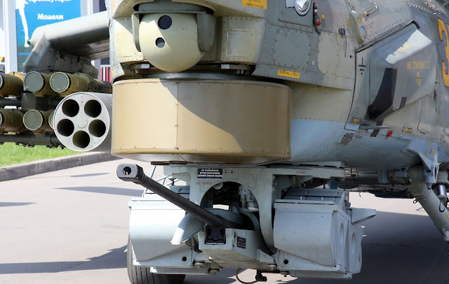 Image Attribute: NPPU-280-1 rapid-fire single-barrel 30 mm gun, model 2A42, on a turret of a Mi-28.
