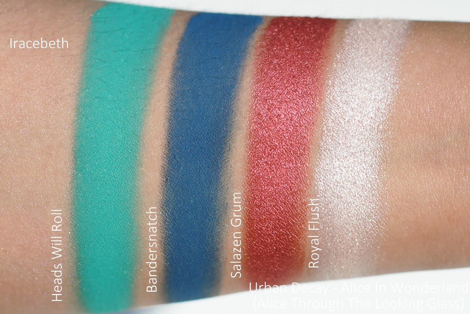 urban decay alice in wonderland alice through the looking glass swatches
