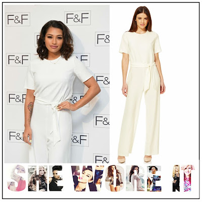 Celebrity Fashion, Celebrity Style, Cream, Elasticated Waist, F+F, Jumpsuit, Short Sleeve, The Saturdays, Tie Belt, Vanessa White, Waist Detail, Wide Leg,