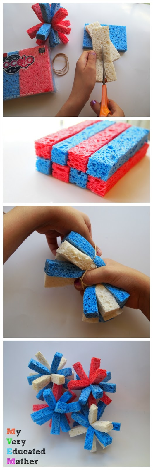 Sponge balls are super easy to make: cut your sponges into fourths lengthwise and secure with a rubber band.A great summertime kids' activity and craft!