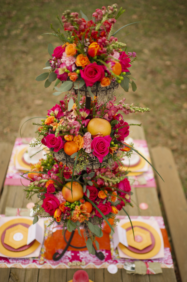 bride+groom+boho+bohemian+chic+orange+pink+yellow+rustic+valentine+valentines+day+february+winter+spring+wedding+cake+bouquet+petticoat+dress+gown+table+setting+floral+arrangement+centerpiece+tangerine+melissa+mccrotty+photography+29 - The Valentine Ombre