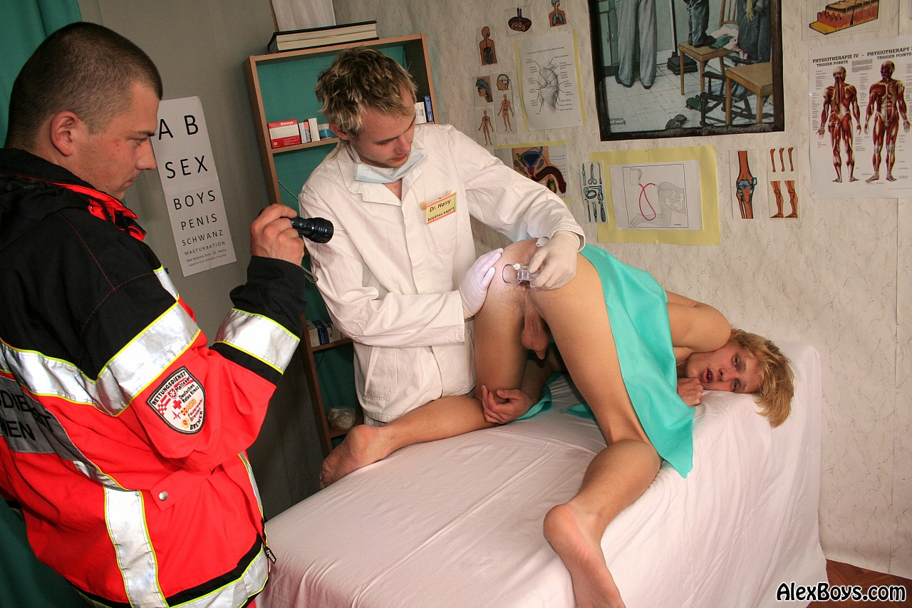 Boy getting examined by doctor naked
