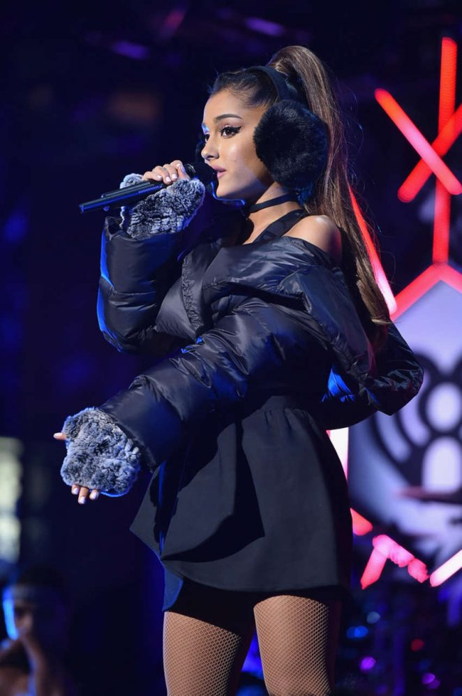 Ariana Grande wears bra top for the Z100 iHeartRadio Jingle Ball 2016 performance in NY