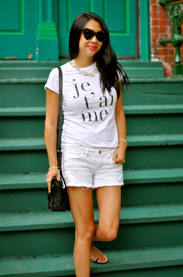 graphic tee and shorts