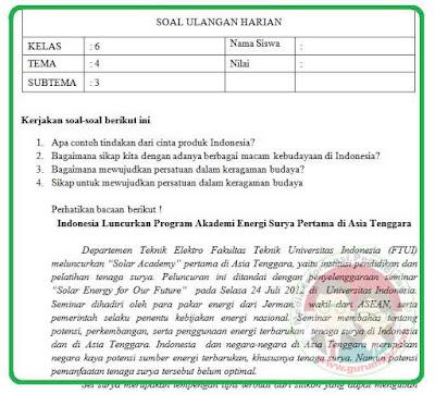 Soal UH / PH Kelas 6 Tema 4 Kurikulum 2013 Revisi 2018