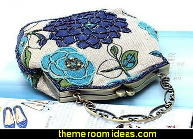 Vintage Luxury Printing Beaded Women Handbag Evening Bag