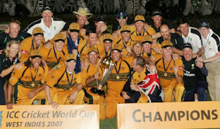 ICC Cricket World Cup 2007 Winner team Australia in front of Champion board