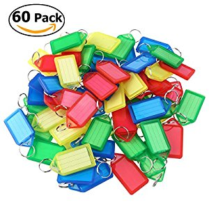 Foxnovo 60pcs Plastic Key Fobs Luggage ID Tags Labels with Key Rings