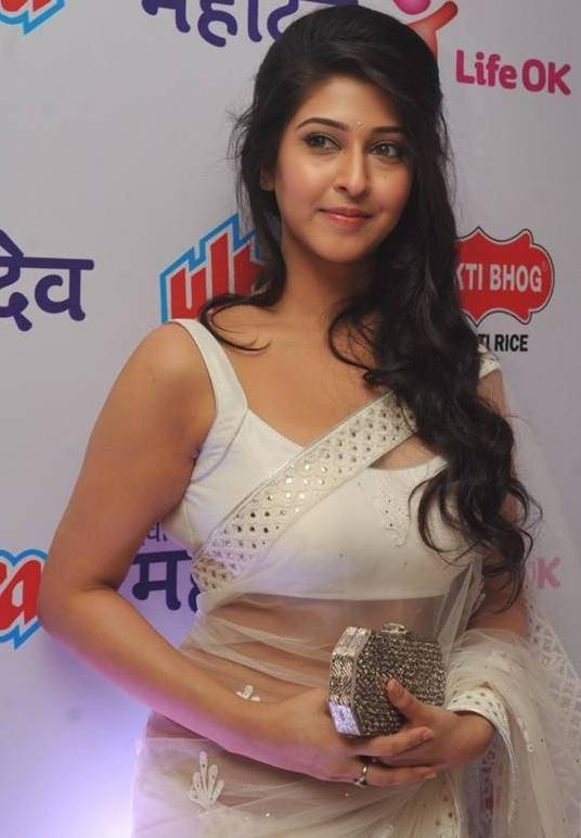 Sonarika Bhadoria Long Hair In Transparent White Saree