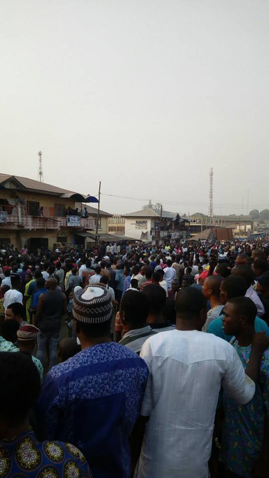 Photos, Video: Fayose storms filling station gutted by fire today