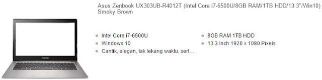 harga laptop asus zenbook warna smooky brown