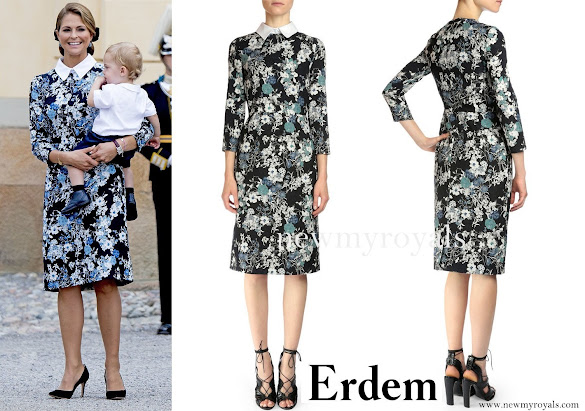 Princess Madeleine wore ERDEM Viv Collared Bracelet-Sleeve Dress