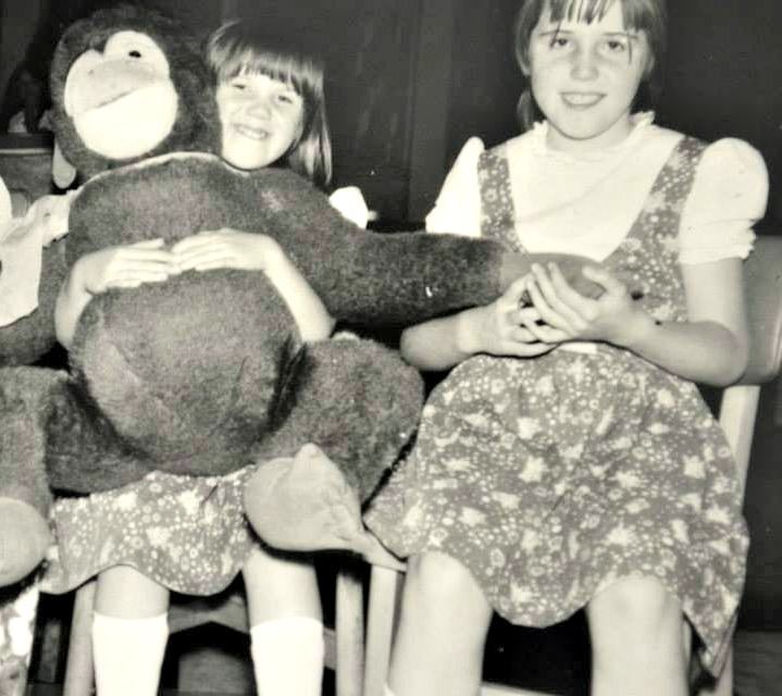 Sarah Jasper & Linda Hobbis plus large monkey at Butlins Minehead circa 1974