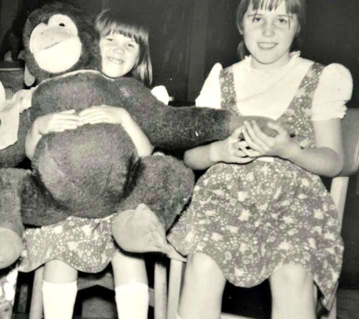 Sarah Jasper & Linda Hobbis plus large monkey at Butlins Minehead circa 1974