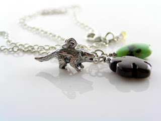 Australian Necklace with Tasmanian Devil Charm and Gemstones