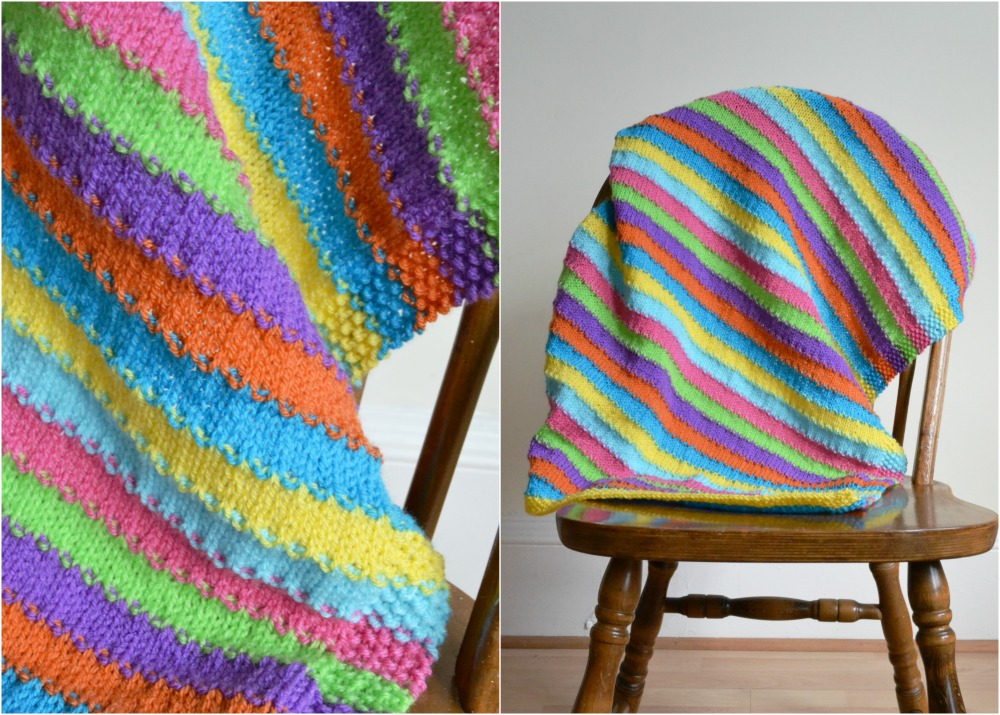 rainbow coloured baby blanket knitted