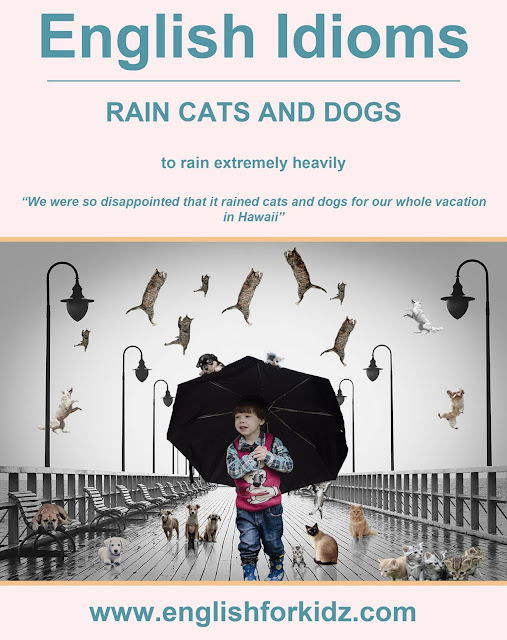 English idiom picture - rain cats and dogs